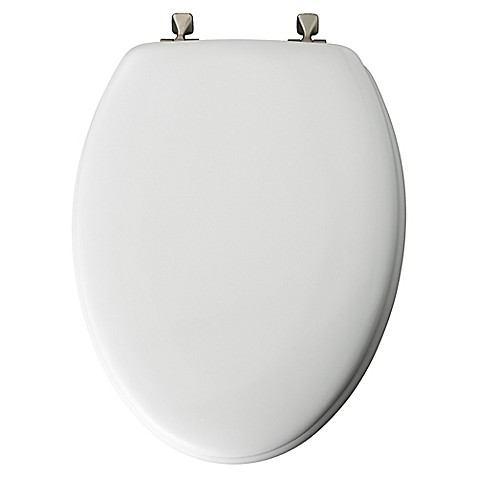 mayfair elongated molded wood toilet seat with brushed