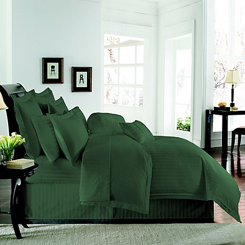 Wamsutta 174 Damask Stripe Duvet Cover Set In Hunter Green