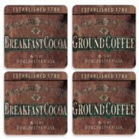 Design House LA Breakfast Cocoa Hardboard Cork-Backed Coasters (Set of 4)