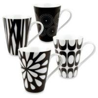 Konitz Black and White Mugs by Jessica Flick (Set of 4)