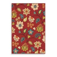 Aria Rugs Veranda Collection 7-Foot 8-Inch x 10-Foot 10-Inch Garden Chintz Rug in Red