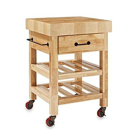 Butcher Block Kitchen Carts And Islands : Crosley Marston Butcher Block Rolling Kitchen Cart - Bed Bath & Beyond