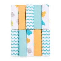 Just Bath by Just Born™ Love to Bathe 10-Pack Knit Washcloth in Hippo/Aqua and Orange