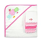 Just Bath by Just Born™ Love to Bathe 5-Piece Woven Hooded Towel & Washcloth Set in Pink