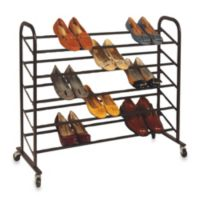 25-Pair Freestanding Shoe Rack in Bronze