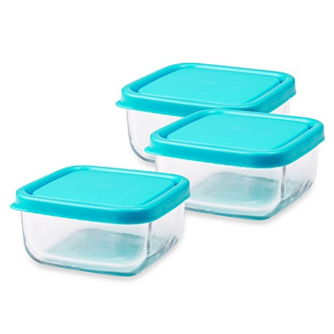 storage containers innobaby the glass 4 ounce baby food cubes in blue set of 3 from buy buy baby. Black Bedroom Furniture Sets. Home Design Ideas