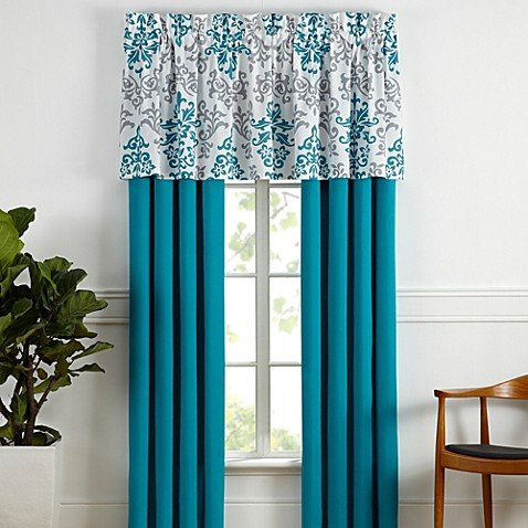 Carina Window Curtain Panel Pair And Valance In Turquoise Bed Bath Beyond