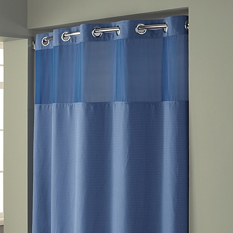 Buy Hookless Waffle 71 Inch X 86 Inch Long Fabric Shower Curtain In Moonlight Blue From Bed