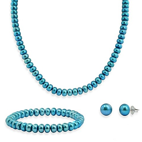 Honora Sterling Silver Freshwater Cultured Pearl Necklace, Bracelet w/ Stud Earring Set in Teal