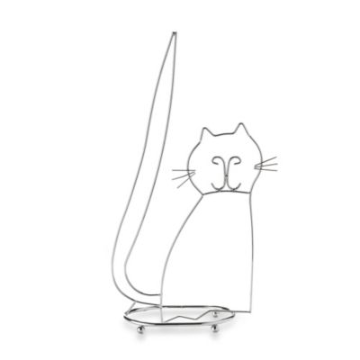 taymor standing cat toilet paper holder in chrome
