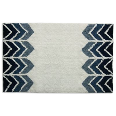 ryann whiteindigo bath rug - Designer Bathroom Rugs