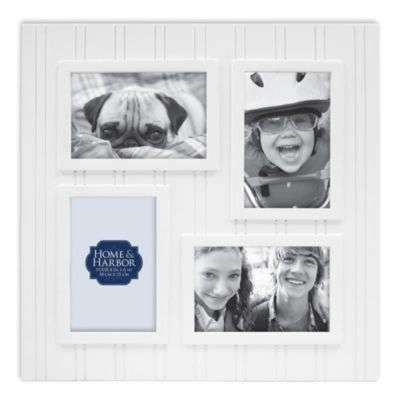 wainscot 4 opening picture frame in white