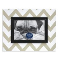 Chevron-Patterned Wood Picture Frame in Taupe