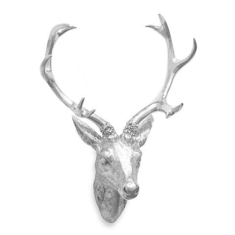 Deer Head Wall Art resin deer head wall art in silver - bed bath & beyond