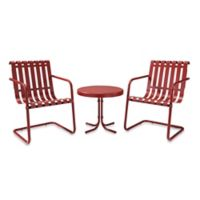 Crosley Gracie 3-Piece Metal Outdoor Seating Set in Coral Red