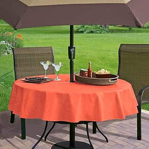 buy monterey vinyl 70 inch round umbrella tablecloth in coral from bed bath beyond. Black Bedroom Furniture Sets. Home Design Ideas