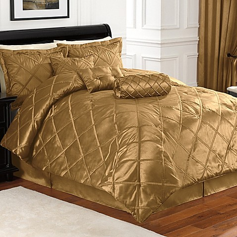 Buy braxton 7 piece full comforter set in gold from bed for Silk sheets queen bed bath beyond