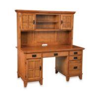 Home Styles Arts & Crafts Pedestal Desk and Hutch in Cottage Oak