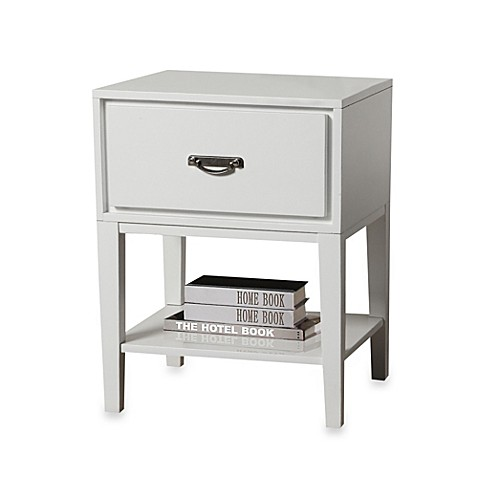 Verona Home One Drawer Accent Table/Straight Leg Nightstand in White