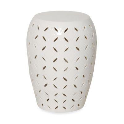 Bon Emissary White Ceramic Lattice Stool