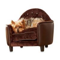 Enchanted Home Pet Ultra Plush Headboard Pet Bed in Brown Pebble