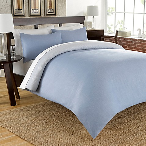 Cotton Chambray Reversible Duvet Cover Set In Blue Bed