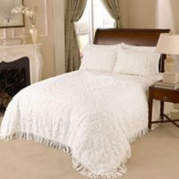 Medallion Chenille Full Bedspread in White