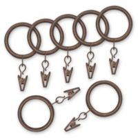 Nemesis Indoor/Outdoor Decorative Window Curtain Clip Rings in Antique Brown (Set of 7)