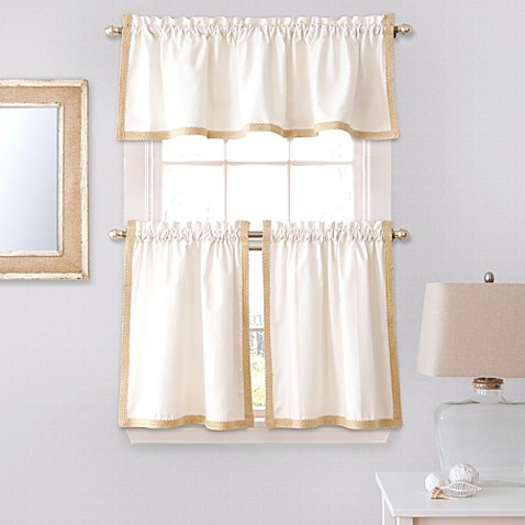 Seaview Window Curtain Tier Pair And Valance In White Bed Bath Beyond