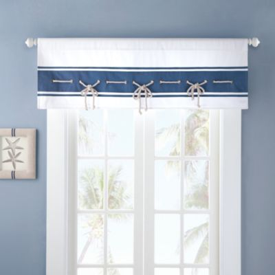 Buy White and Blue Valance from Bed Bath & Beyond