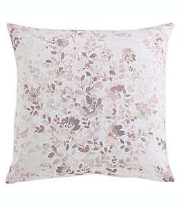 MorganHome Cojín decorativo con flores en blanco y rosa