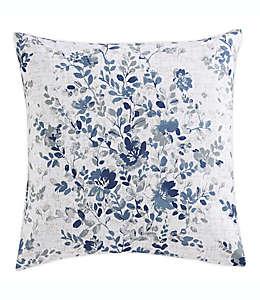MorganHome Cojín decorativo con flores en blanco y azul
