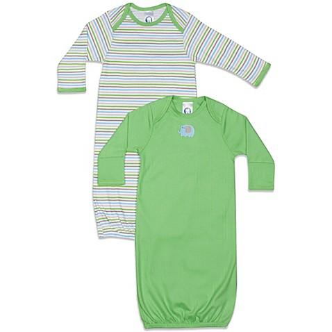 Gerber® Newborn 2-Pack Sleeper Gown in Green/Multi Stripe - buybuy ...