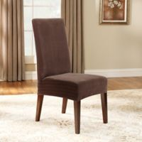 Sure Fit® Stretch Pinstripe Short Dining Chair Slipcover in Chocolate