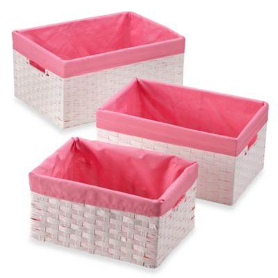 Baby Registry Favorites U003e Redmon 3 Piece Basket Storage Set With Pink  Liners In White