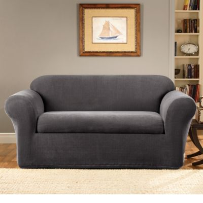 Sure Fit® Stretch Metro 2-Piece Loveseat Cover in Grey - Buy Sure Fit Furniture Covers From Bed Bath & Beyond