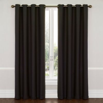 SolarShield® Westin 63 Inch Room Darkening Window Curtain Panel In Jet Black
