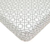 TL Care® Cotton Percale Crib Sheet in Grey Lattice