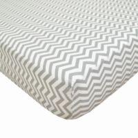 TL Care® Cotton Percale Crib Sheet in Grey Zigzag