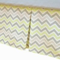 TL Care® Cotton Percale Tailored Bed Skirt with Pleat in Celery/Grey Zigzag