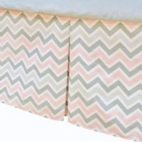 TL Care® Cotton Percale Tailored Bed Skirt with Pleat in Pink/Grey Zigzag