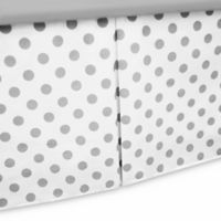 TL Care® Cotton Percale Tailored Bed Skirt with Pleat in White/Grey Dot