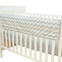 TL Care® Crib Rail Cover in Blue and Grey Zigzag