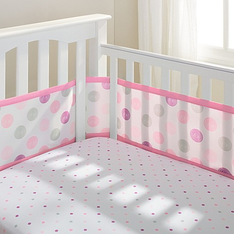 BreathableBaby® Mix & Match Breathable Mesh Crib Liner in Pink Swirl Dot
