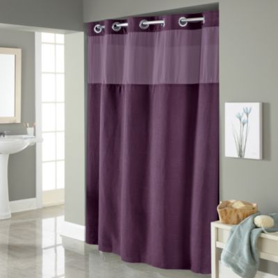 Hookless  Waffle 71 Inch x 86 Long Fabric Shower Curtain in Purple Buy Curtains from Bed Bath Beyond