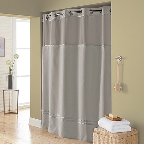 Hookless Escape 71 Inch X 74 Inch Fabric Shower Curtain And Shower Curtain Liner Set In Grey
