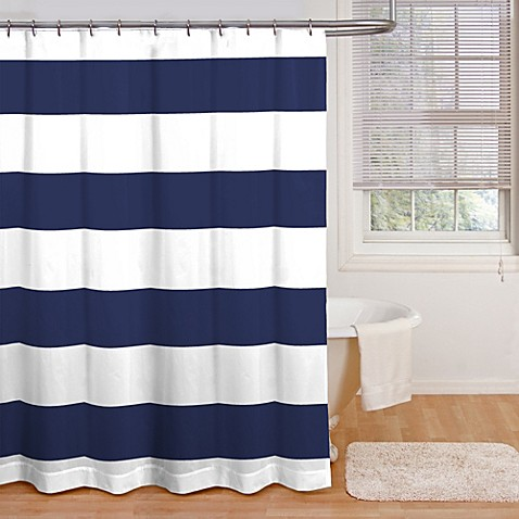 Natural Linen Shower Curtain Navy Blue and White Graduati