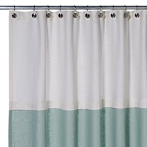 Buy Soho 72Inch x 75Inch Linen Shower Curtain in Aqua from Bed Bath u0026 Beyond