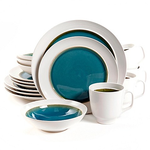 Aqua Oasis 16-Piece Dinnerware Set in Turquoise