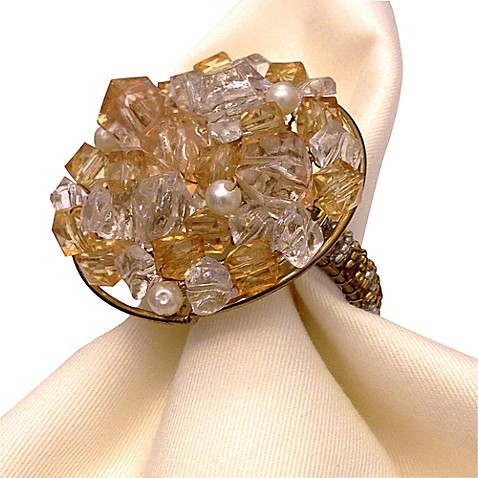 Leila's Linen Handcrafted Glass Beaded Napkin Ring